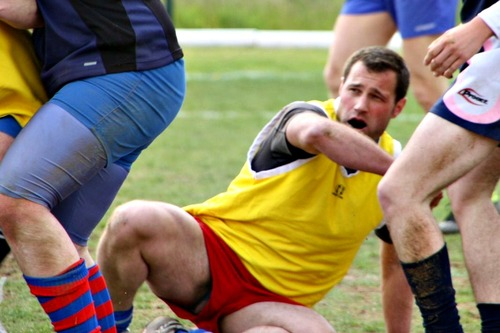 Rugby Player Shows Balls